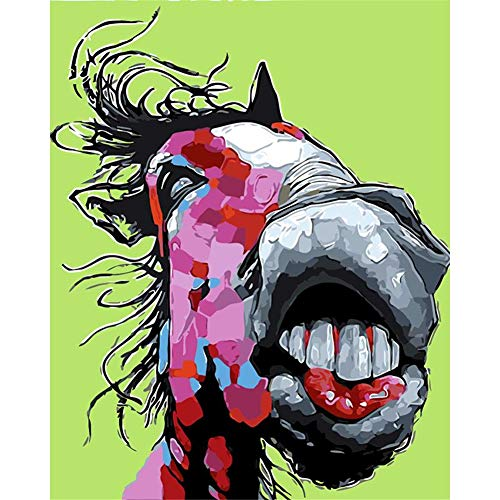 (LanMent DIY Painting by Numbers Funny Big Mouth Horse Teeth, Oil Painting Number Kit for Adults Beginners Kids Teens Famous Paintings Aacrylic Canvas with Brushes, 16 x 20inches)