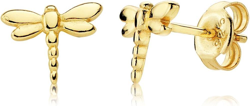 Iyé Biyé Jewels - Pendientes libélula en plata de ley bañados en oro amarillo de 18 ktes