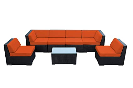 Ohana 7 Piece Outdoor Patio Furniture Sectional Conversation Set Black Wicker With Orange Cushions No Assembly With Free Patio Cover