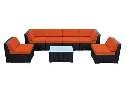 Genuine Ohana Outdoor Patio Wicker Sectional Furniture 7pc Sofa Set ( Sunbrella Tuscan)
