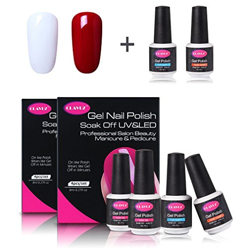 CLAVUZ White Red Gel Nail Polish Kit with Base Coat Top Coat