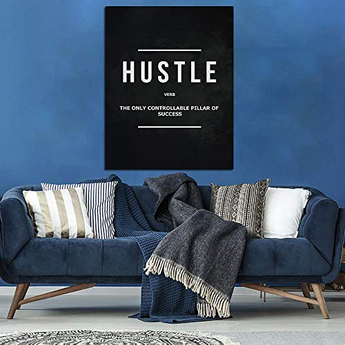 Hustle Motivational Canvas Wall Art -Inspirational Office Wall Art Poster Quotes - Canvas Artwork Picture Print Framed for Home Office Farm Bathroom Wall Decor -12