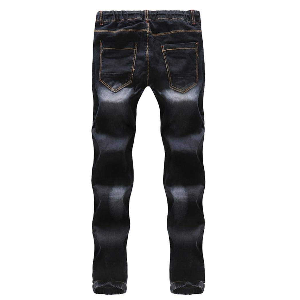 Realdo Hot!Clearance Sale Mens Casual Slim Personality Solid Elastic Splice Work Cargo Trousers Jeans Jogger Pants(30,Black) by Realdo (Image #5)