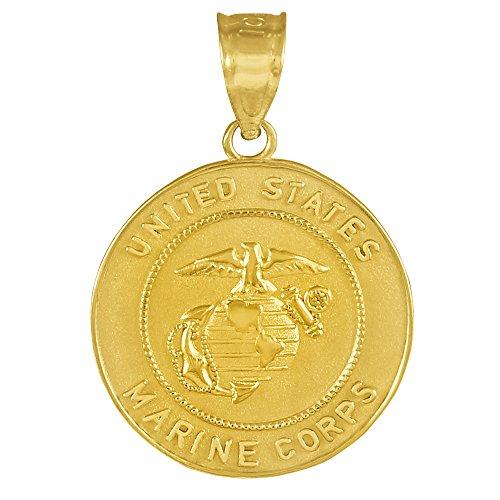 """10 ct 471/1000 """"US Marine Corps"""" Or Piece de Monnaie Pendentif Collier (Livre Avec un 45 cm Chaine)"""