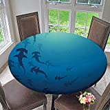Round Polyester Tablecloth Table Cover Decor Hammerhead Shark School Scan Ocean Dangerous Predator Wild Nature Illustration Navy Blue for Most Home Decor 47.5''-50'' Round (Elastic Edge)