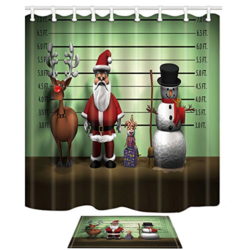 NYMB Christmas Decor Santa Claus Snowman And Alk Puppets 69X70in Mildew Resistant Polyester Fabric Shower Curtain Suit With 157x236in Flannel Non Slip
