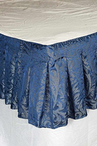 "Ds Isabella Blue Faux Silk Inverted Pleats Bed Skirt / Dust Ruffles 18"" Drop (King)"