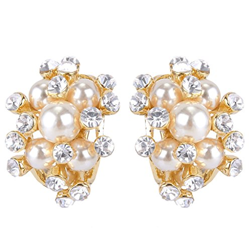 EVER FAITH Austrian Crystal Cream Simulated Pearl Bridal Cluster Pierced Stud Earrings Clear Gold-Tone