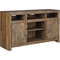 Ashley Sommerford Collection W775-48 62 Large TV Stand with Fireplace and Audio Insert Compatibility Adjustable Shelves Behind Doors and Wire Management in