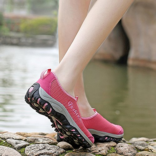 Beach Lightweight Women Sneakers Shoes Red Water Hiking Walking Comfortable Athletic Women Shoes Breathable OUYAJI qxYwgg