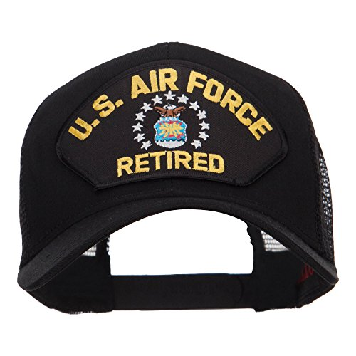 e4Hats.com US Air Force Retired Military Patched Mesh Cap - Black OSFM