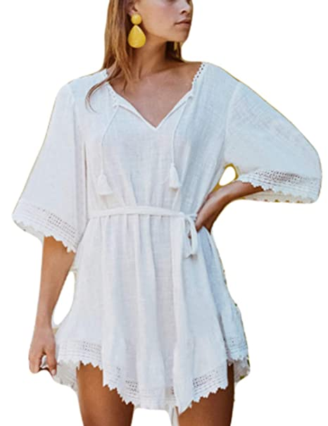8563394fb2 Bsubseach Women White Lace-up V Neck Short Beach Tunic Dress See-Through  Swimwear