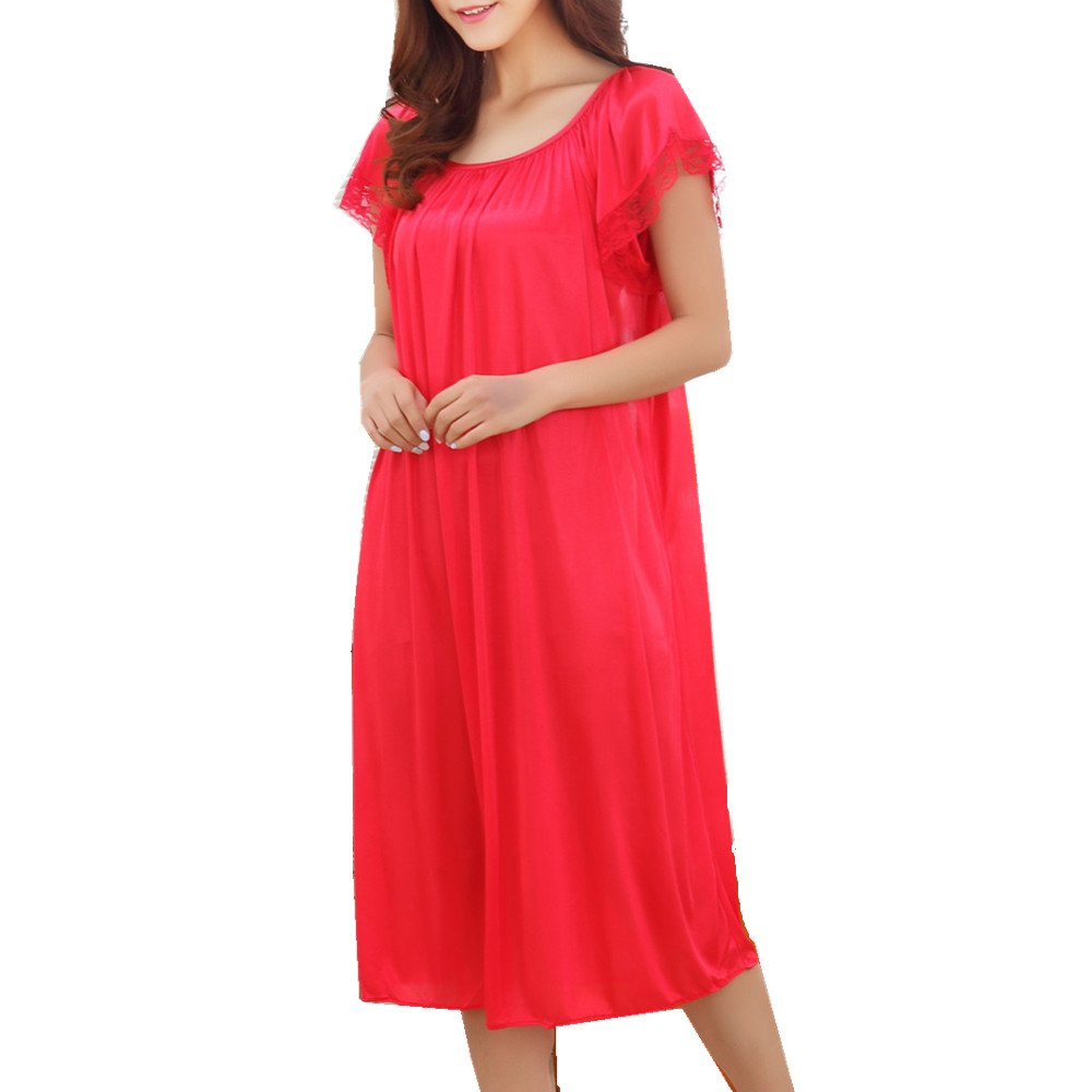 LJYH Women's Solid Short Sleeve Silky Long Nightgown Sleepwear Dress