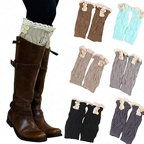 6 Pack Women Crochet Knitted Button Lace Trim Boot Cuffs Leg Warmer Socks -