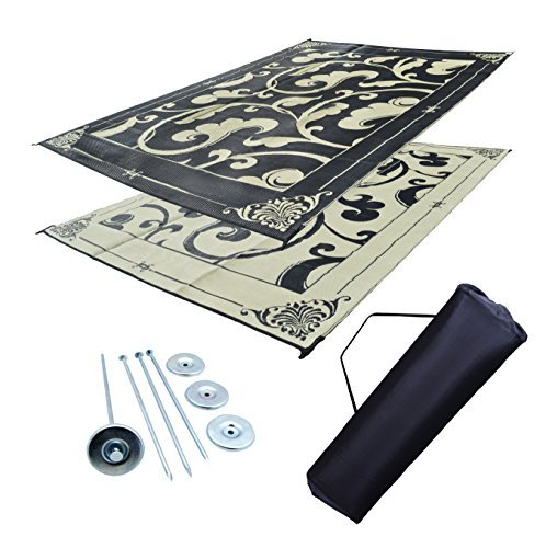 Professional EZ Travel Collection RV Awning Mat Reversible Patio Mat Black and Beige D-Vine Mat Kit (9' x 12') ()