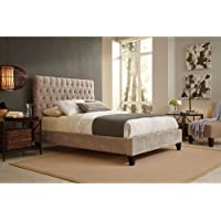 Reims Complete Bed with Upholstered Exterior and Button-Tufted Headboard, Vanity Mouse Finish, Queen
