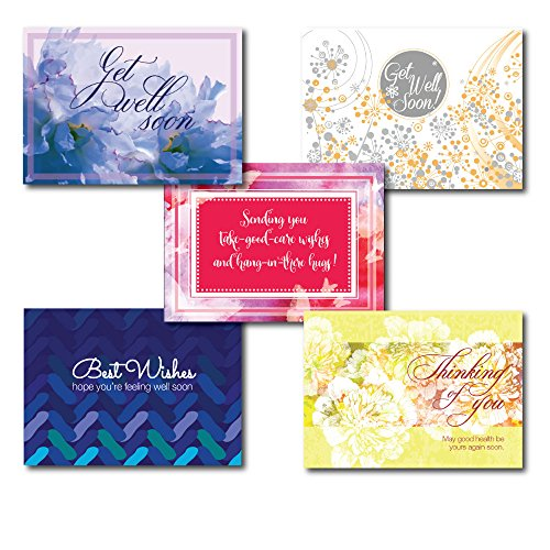 Get Well Greeting Card Assortment. A Variety Box Set of 6 Different Cards and Verses for Friends or Business Associates who are Sick, Hospitalized or Otherwise Incapacitated