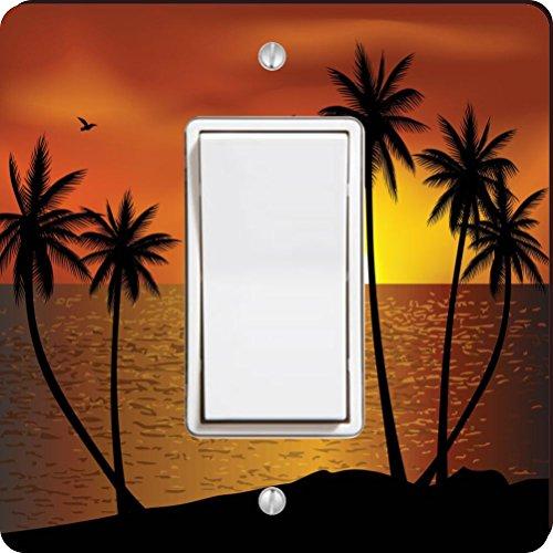 Rikki Knight Silhouette Boat Palm Trees on Sunset Single Rocker Light Switch - Palm Silhouette