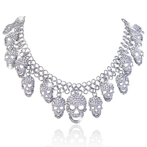(EVER FAITH Women's Austrian Crystal Halloween Luxury Skulls Statement Necklace Clear Silver-Tone)