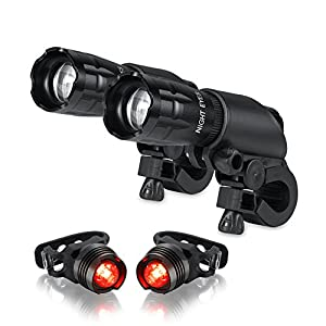 Night Eyes-Ultra Bright 500Lumen XML-T6 LED Bicycle headlight-Extremely Bright LED Flashlight -Fit All Bike - with Free Alumium Taillight Bonus-Easy Install No Need Tool-2 PACK