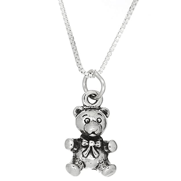 Sterling Silver Oxidized 3d Cuddly Teddy Bear Charm Pendant with Polished Box Chain Necklace