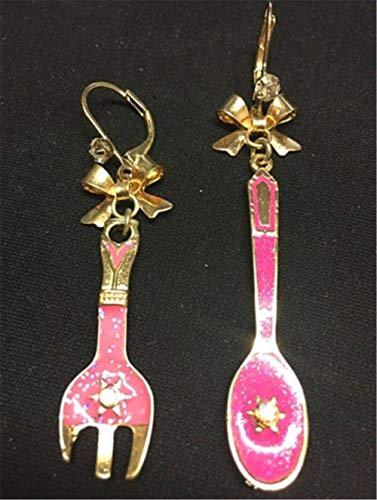 1 pair Women Girl Rhinestone Bow Spoon Fork Drop Oil Earrings Stud ()