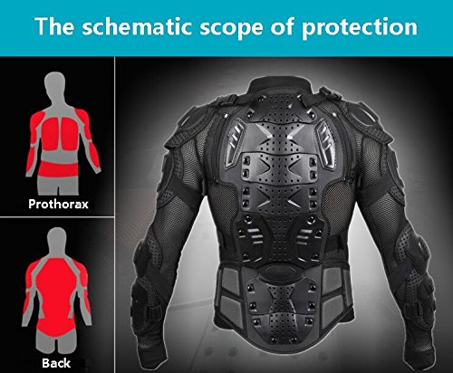 Motorcycle Full Body Armor Protective Jacket Guard ATV Motocross Gear Shirt (XXL, black) by Niree (Image #6)'