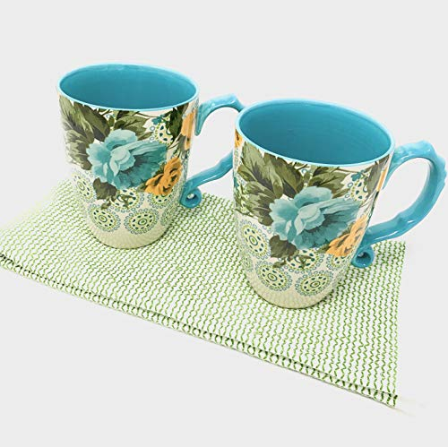 (Pioneer Woman Coffee Mugs Jumbo Latte - Rose Shadow - Bundle with Green/White Kitchen Towel)