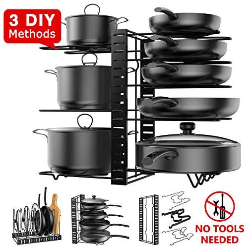 Pot Rack Organizer, 3 DIY Methods, Height and Position are Adjustable - 8 Pots Holder, Metal Kitchen Cabinet Pantry Pot Pan Lid Holder (BLACK)