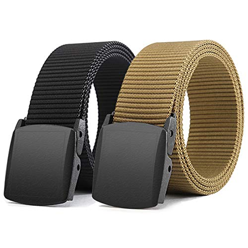 WYuZe Black Nylon Webbing Belt-2 Pack Plastic Military Tactical Web Belt for Men,Black W+black P,Waist: 28