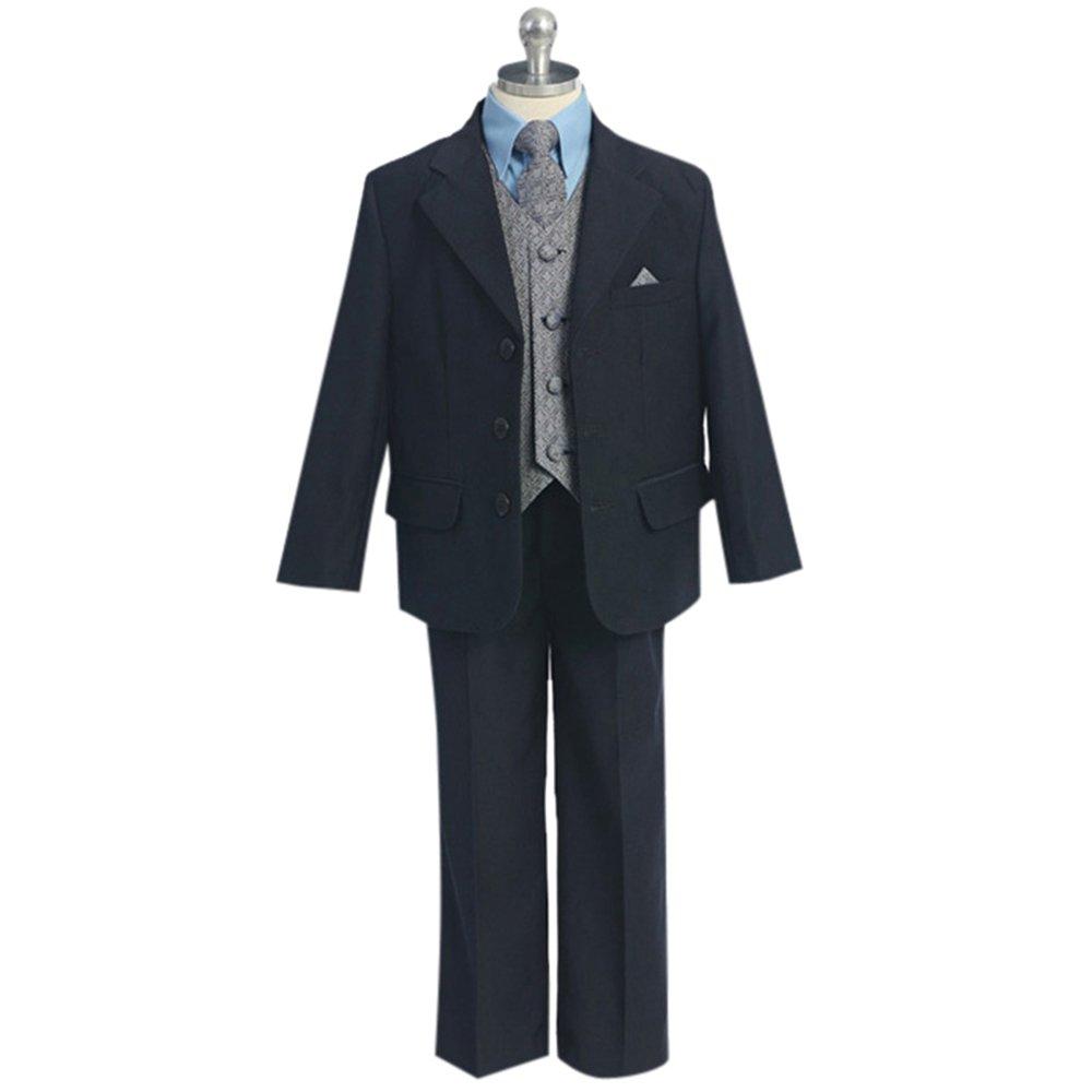 HBDesign Boys 2 Piece 3 Button Notch Lapel Fit Casual Boys Suite Dark Navy Blue