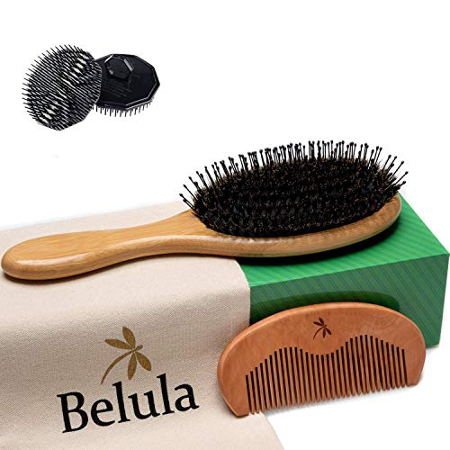 Boar Bristle Hair Brush for Men Set. Detangling Hairbrush for Thick Hair, Curly, Long or Tangled. Boar Bristle Brush, 2 x Palm Brush, Wooden Comb & Travel Bag Included