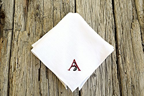 White Irish Linen Handkerchief with Hand Embroidered Monogram Initial ()