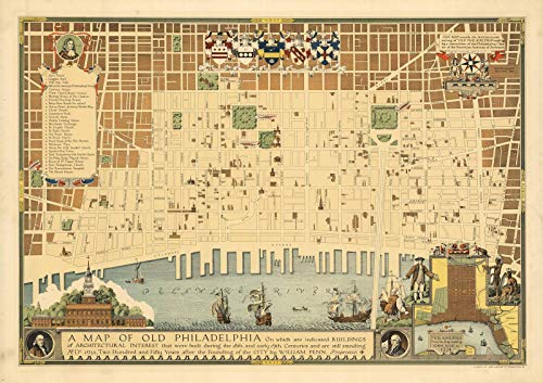 A Map of Old Philadelphia, 1934 | Historic Antique Vintage Map Reprint by historic pictoric