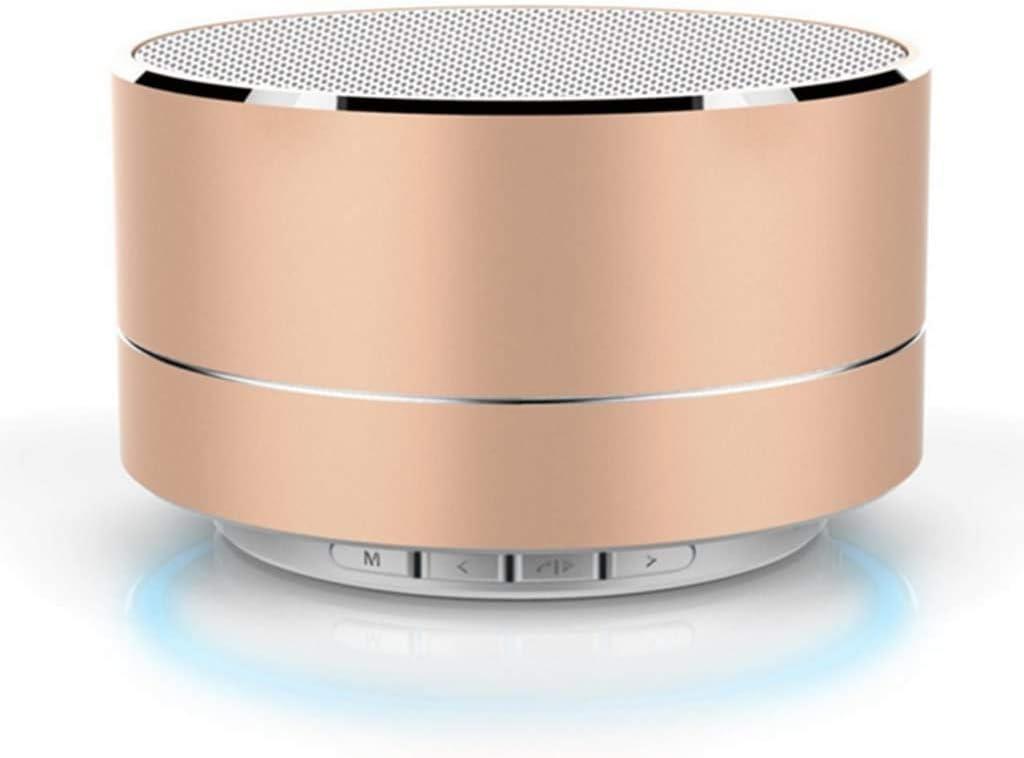 Tec-Digi Mini Altavoz Bluetooth inalámbrico portátil, Altavoz estéreo inalámbrico de Aluminio con Altavoz Manos Libres Integrado Micro SD TF Ranura para Tarjeta SoundBox (Oro)