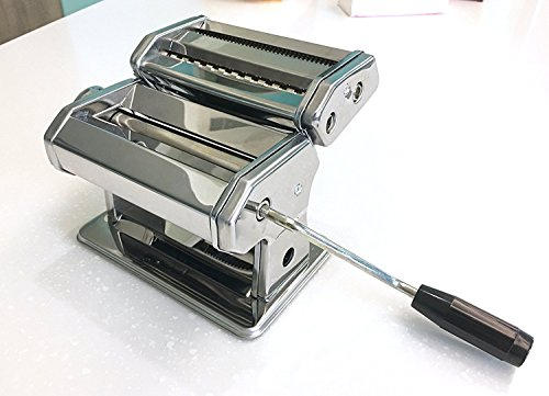 (A-ONE Stainless Steel Pasta Maker- Lasagne Spaghetti Tagliatelle Fettuccine Noodle Maker Machine Cutter with 3 Cut Press Blade Settings with Table Top Clamp with thickness adjustable level)