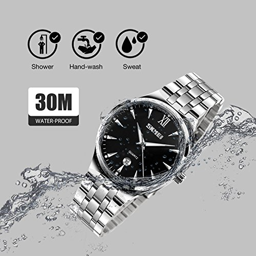 Mens Watch, Unique Quartz Analog Dress Business Casual Watches Stainless Steel Band Wrist Roman Numeral Waterproof Watch, Classic Calendar Date Window - Black by cofuo (Image #4)