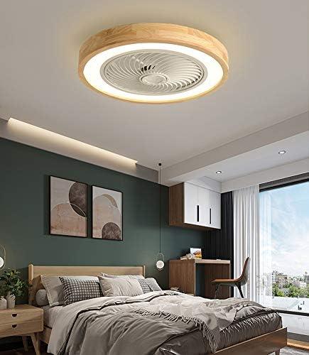 Holz Deckenventilator mit Beleuchtung LED Licht, Invisible Fan Deckenleuchte Dimmbar mit Fernbedienung, Leise Ventilator lampe, Deckenlampe für Schlafzimmer Wohnzimmer Esszimmer Kinderzimmer, Ø50cm