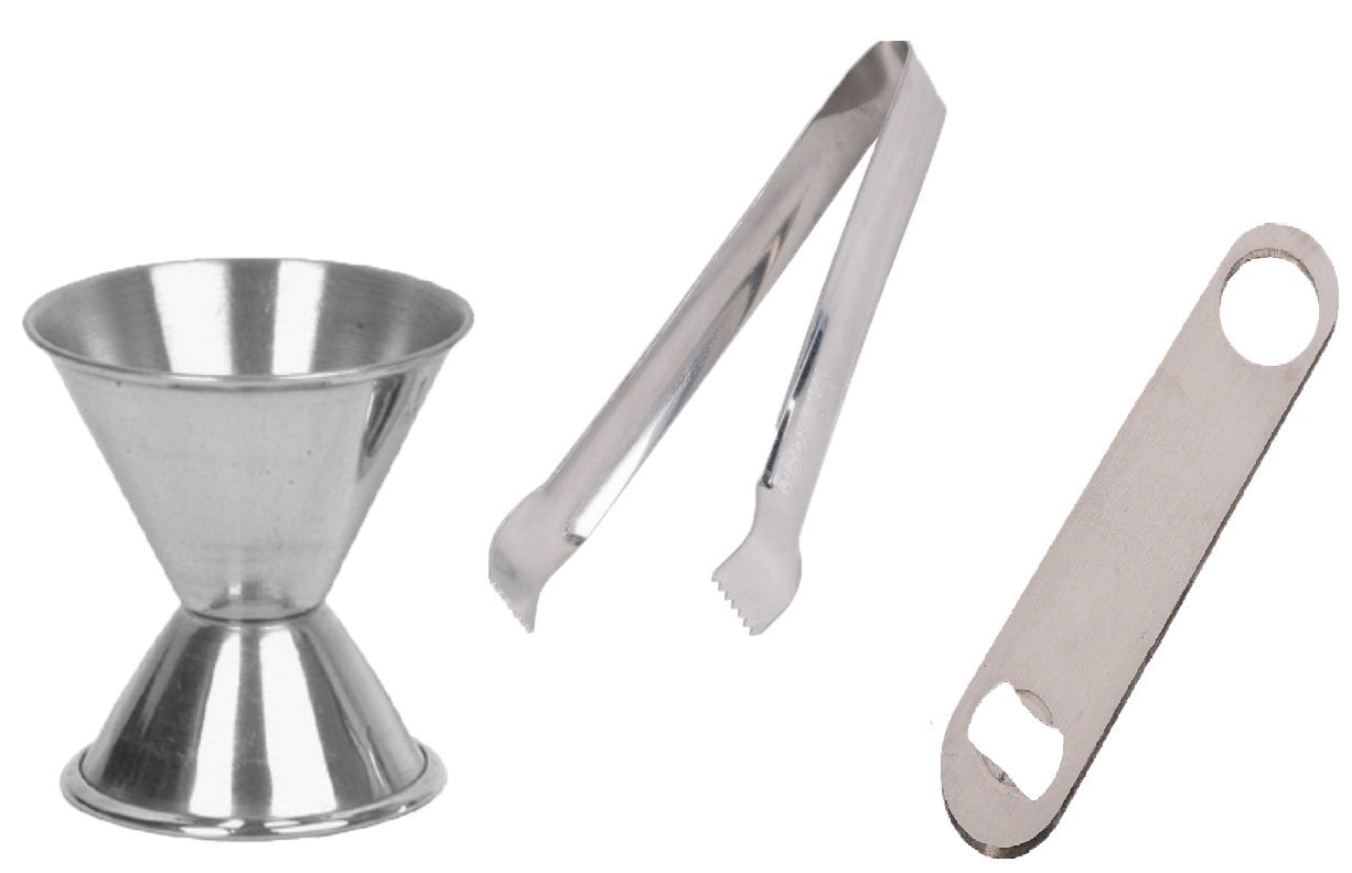 3 pcs bar Set – ice Tong, peg Measure, Bottle Opener