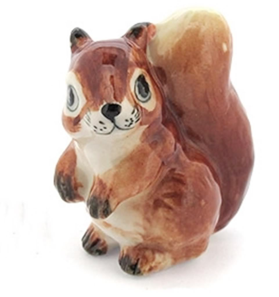 Dollhouse Miniatures Ceramic Brown Squirrel No.1 FIGURINE Animals Decor by ChangThai Design by ChangThai Design