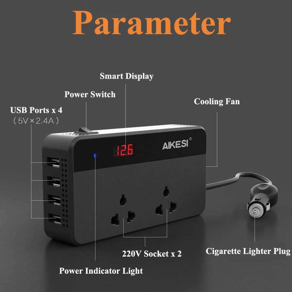 220V Convertidor de Potencia Convertidor con 4 USB Socket Charger Encendedor de Cigarrillo Autom/ático XISEDO AIKESI Inversor de Corriente para Autom/óvil DC 12V 24V a CA 110V
