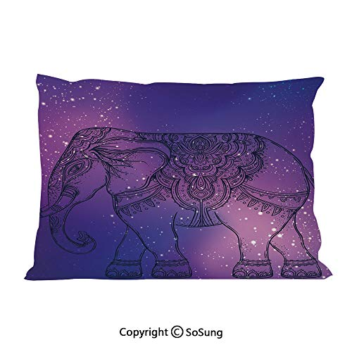 Guardian Tweed - SoSung Elephant Mandala Bed Pillow Case/Shams Set of 2,Sketchy Hand Drawn Holy Guardian Animal Print in Outer Space Image Queen Size Without Insert (2 Pack Pillowcase 30