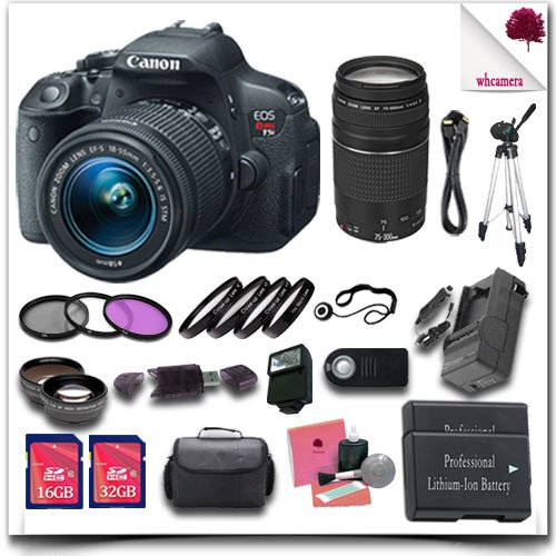 EOS Rebel T5i Camera with EF-S 18-55mm STM Lens +  EF 75-