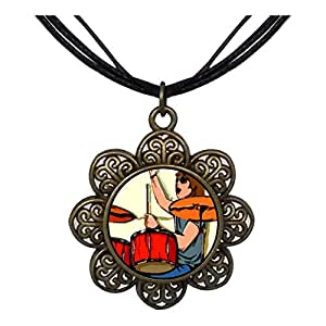 Chicforest Bronze Retro Style Music Theme Playing Drummer Sun Flower Pendant Pendant Necklaces