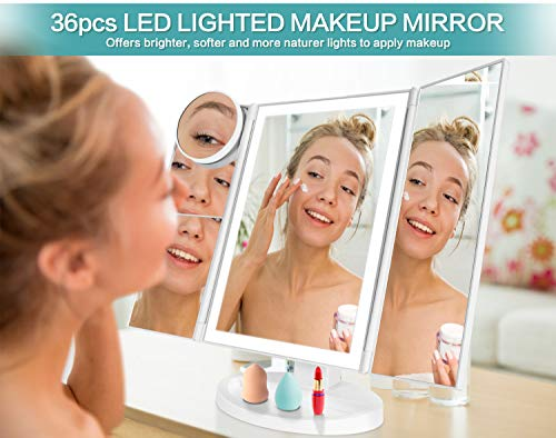 Makeup Vanity Mirror with Lights, 36 LED Trifold Cosmetic Makeup Mirror, 2x 3x 10x Magnification 180� Rotation Dual Power Supply 10 Makeup Brushes Set 2 Makeup Sponges 2 Cosmetic Bags 1 Eyelash Curler