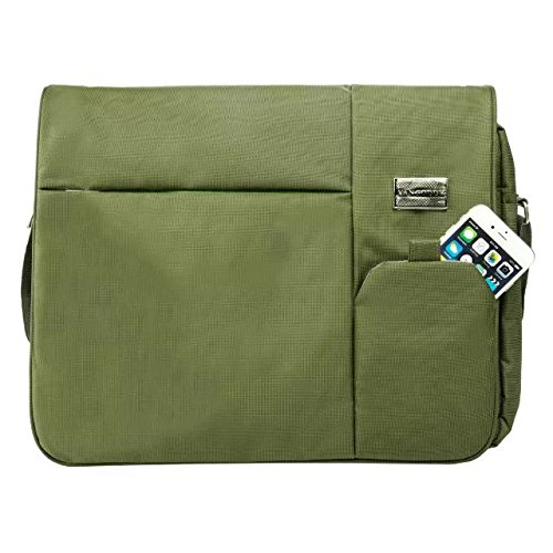 VanGoddy 13.3~15 inch Ultrabooks/Laptop/NetBook/MacBook Multi-functional Messenger Case Tote Bag with Shoulder Strap Carrying Strap (Olive Green) ()