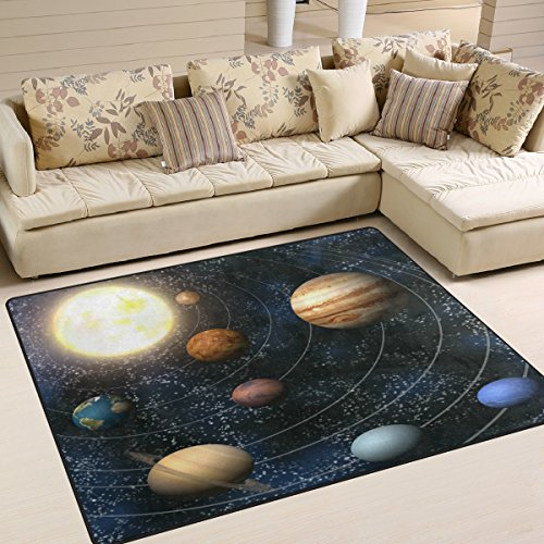 ALAZA Space Solar System Universe Galaxy Nebula Area Rug Rugs for Living Room Bedroom 7' x 5' by ALAZA