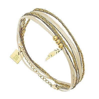 Zag Bijoux Bracelet Plume Multi,Tour (doré et Bronze)