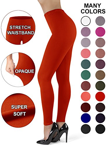 Satina High Waisted Leggings Women | New Full Length w/Stretch Waistband | Ultra Soft Opaque Non See Through (PlusSize, Red)