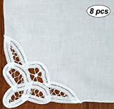 Creative Linens Battenburg Lace Napkin Set White, 100% Cotton (Napkins-8pcs)